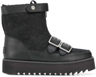 UGG shearling flat buckle boots
