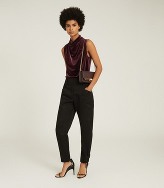Reiss LOLA HIGH NECK SLEEVELESS TOP Berry