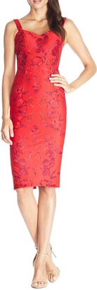 Dress the Population Jaida Floral Embroidered Cocktail Dress