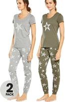 Very 2 Pack Stars Print Short Sleeve Pj