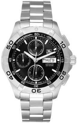 Tag Heuer Black Stainless Steel Aquaracer Chronograph CAF2010 Men's Wristwatch 43MM