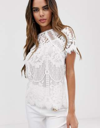 Lipsy all over high neck lace top in white