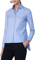 Akris Punto Dot-Print Shirting Blouse w/Back Tail, Light Blue