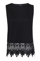 Quiz Black Crochet Hem Sleeveless Top