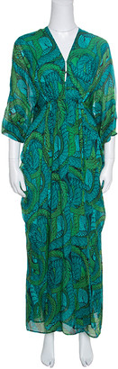 Issa Green Printed Silk Zip Front Ruched Maxi Dress S