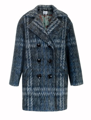 Diana Arno Sally Brushed Coat In Blue Check