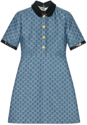 Gucci GG lame dress with detachable collar