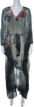 Roberto Cavalli Multicolor Floral Print Degrade Silk Maxi Kaftan S