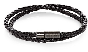 Tateossian Double Wrap Woven Leather Bracelet