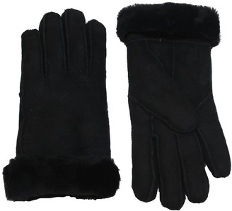 Infinity Ladies Soft Thick Black 100% Sheepskin Gloves with Turn Back Cuffs L