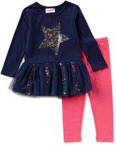 Flapdoodles Little Girls 2T-6X Rainbow Star Dress & Solid Leggings Set