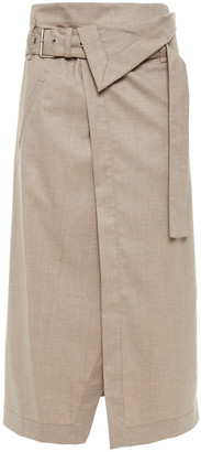 3.1 Phillip Lim Asymmetric Melange Wool-blend Midi Wrap Skirt