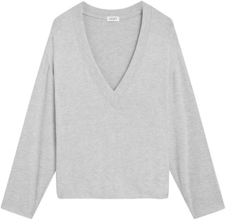 Leset Lori V-Neck Oversized Stretch-Knit Top