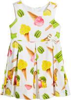 Mayoral Ice Cream Print Box-Pleat Sateen Dress, Size 3-7