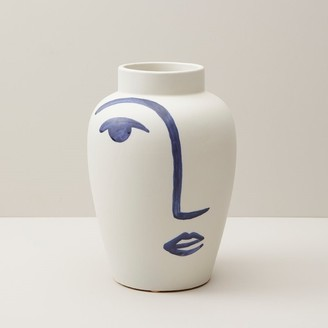 Oui Hand-Painted Face Vase Large