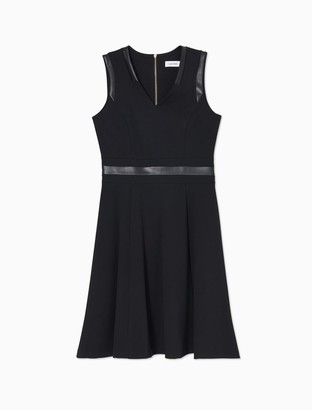 Calvin Klein Faux Leather Trim V-Neck Sleeveless Fit + Flare Dress