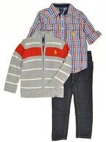 U.S. Polo Assn. Little Boys & Red Zip Up Sweater 3pc Denim Pant Set