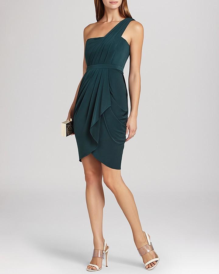 BCBGMAXAZRIA Dress - Julieta One Shoulder Cascade Ruffle Sheath