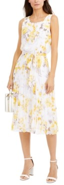 INC International Concepts Inc Floral-Print Pleated Chiffon Midi Dress, Created for Macy's