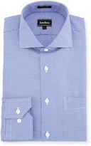 Neiman Marcus Classic-Fit Regular-Finish Mini Check Dress Shirt, Blue