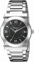 Salvatore Ferragamo Men's FI0940015 VEGA Stainless Steel Watch with Black Dial