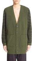 MM6 MAISON MARGIELA Women's Button Sleeve Stripe Wool Cardigan