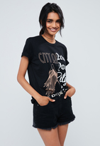 Missguided Black Spliced City Of New York Print T Shirt