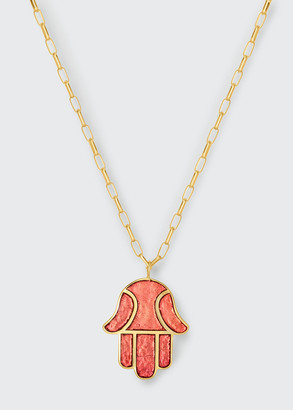 Audrey C. Jewels Hamsa Enamel Pendant Necklace