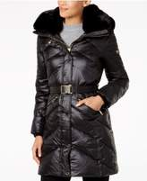 MICHAEL Michael Kors Faux-Fur-Trim Belted Down Coat