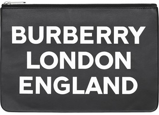 Burberry Logo Print Leather Zip Pouch