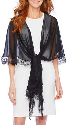 J Taylor Womens Multi Way Lace Trim Shawl Cover Up