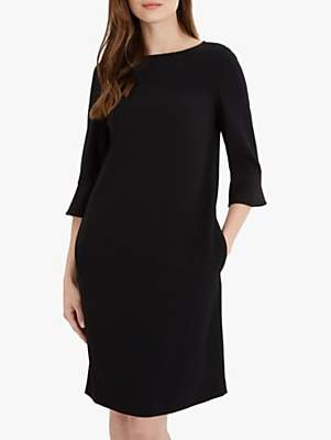 Jaeger Cuff Detail Crepe Dress, Black