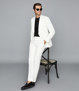 Reiss Home - Linen Blend Double Breasted Tuxedo Blazer in Ivory