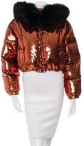 Moschino Fox-Trimmed Sequined Jacket