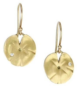 Annette Ferdinandsen Diamond & 14K Yellow Gold Lily Pad Earrings