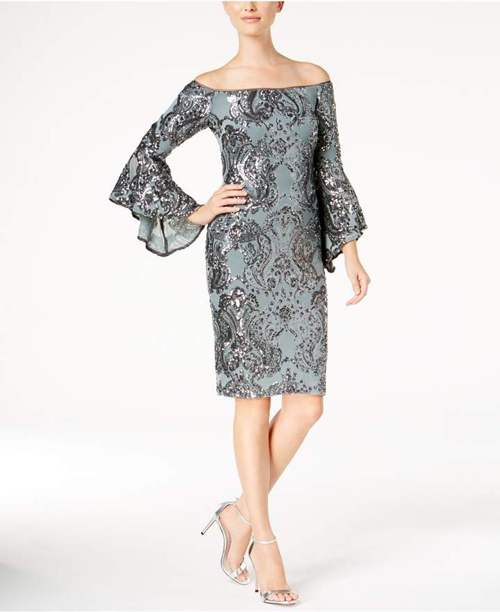 Betsy & Adam Sequined Off-The-Shoulder Dress