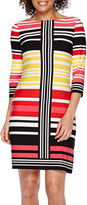 London Times London Style Collection 3/4-Sleeve Striped Sheath Dress - Petite