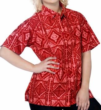 LA LEELA Cotton Women's Hawaiian Blouse Tunic Shirt Top Short Sleeve Casual Work Shirt Basic Loose Daily wear Aloha XXL-UK Size:24-26 Blood Red_X67