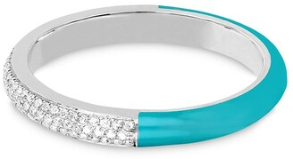 Ef Collection 14kt White Gold Diamond And Turquoise Enamel Band Ring