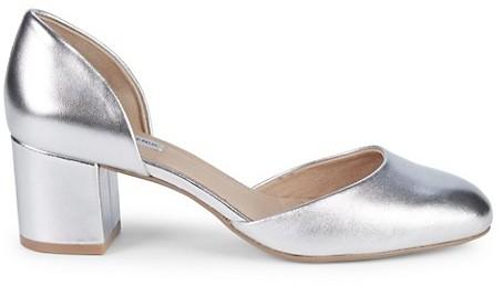 Silver Block Heel Pumps   Shop the