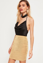 Missguided Petite Exclusive Gold Ruched Slinky Mini Skirt
