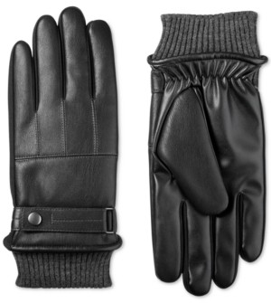 Isotoner Signature Men's Faux-Leather SleekHeat Gloves