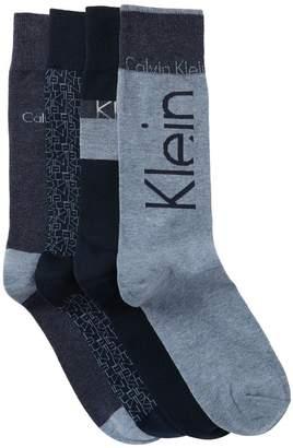 Calvin Klein Assorted Logo Crew Socks - Pack of 4