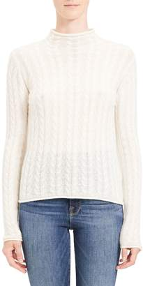 Theory Cable Knit Mock Neck Sweater