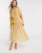 Asos Design DESIGN pleated trapeze midi dress with tie sleeves in ditsy floral print