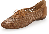 Ban Lattice Leather Woven Lace-Up Oxford, Cuoio