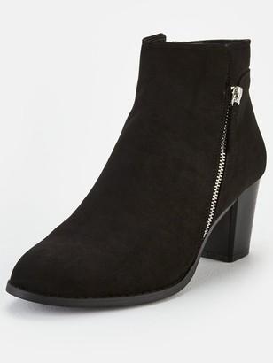 Very Fleet Zip Low Heel Ankle Boots - Black