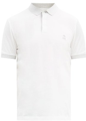 Brunello Cucinelli Contrast-collar Cotton-jersey Polo Shirt - White