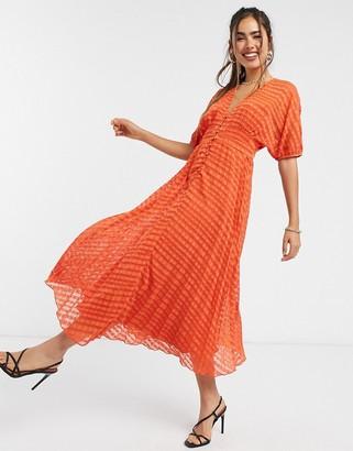 ASOS DESIGN textured dobby button through midi tea dress in red