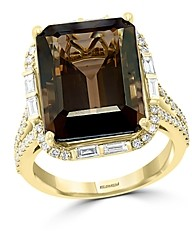 Bloomingdale's Smoky Quartz & Diamond Statement Ring in 14K Yellow Gold - 100% Exclusive